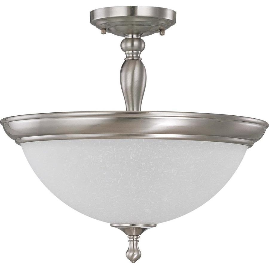 Divina 17.4-in W Brushed Nickel Frosted Glass Semi-Flush Mount Light