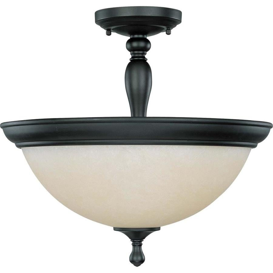 Divina 17.4-in W Aged Bronze Tea-Stained Glass Semi-Flush Mount Light