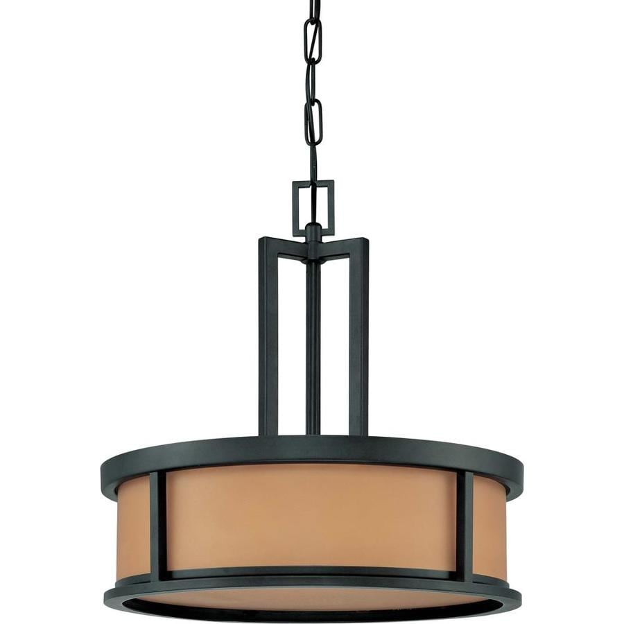Odeon 20-in Aged Bronze Single Tinted Glass Pendant