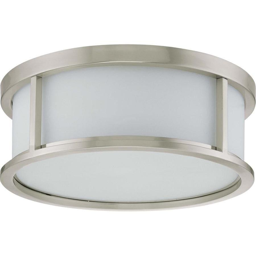 17-in W Brushed Nickel Ceiling Flush Mount Light