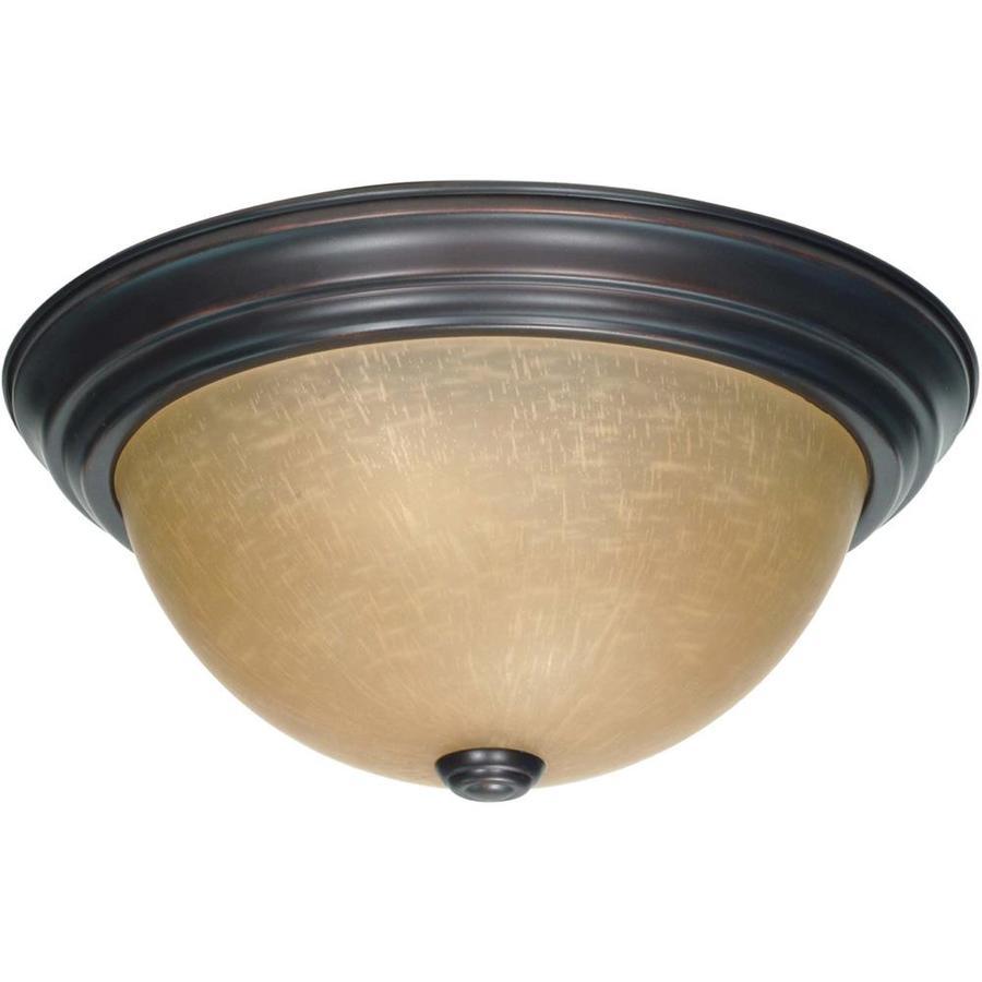 13.12-in W Mahogany Bronze Ceiling Flush Mount Light
