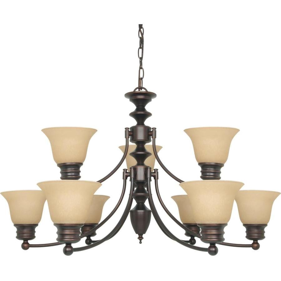 Empire 32-in 9-Light Mahogany Bronze Tiered Chandelier