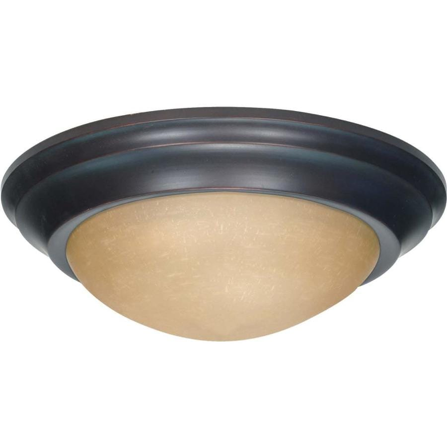 14-in W Mahogany Bronze Ceiling Flush Mount Light