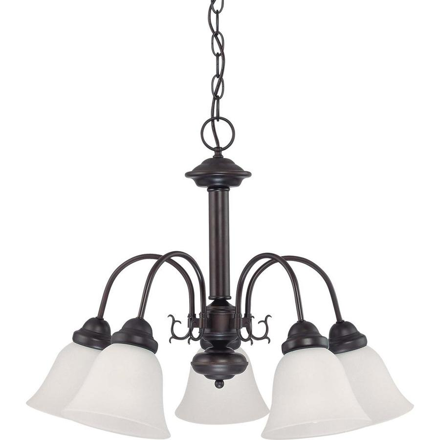 Edith 24-in 5-Light Mahogany Bronze Tinted Glass Candle Chandelier