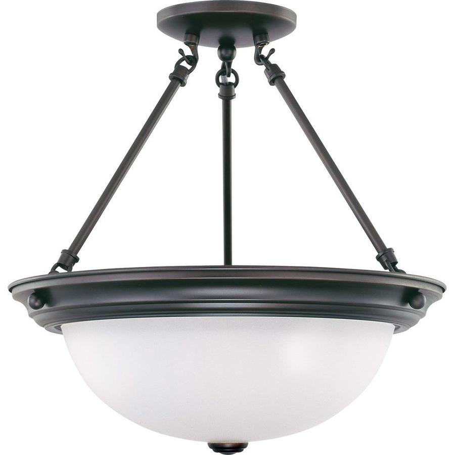 Divina 15.68-in W Mahogany Bronze Frosted Glass Semi-Flush Mount Light