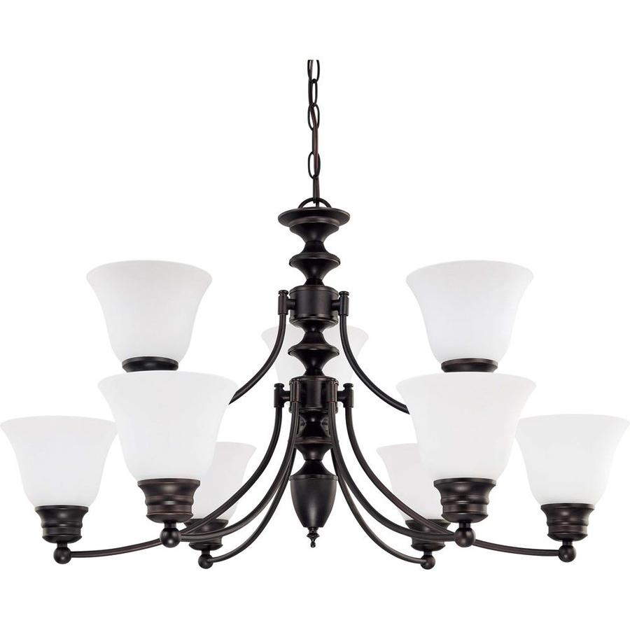 Empire 32-in 9-Light Mahogany Bronze Tinted Glass Tiered Chandelier