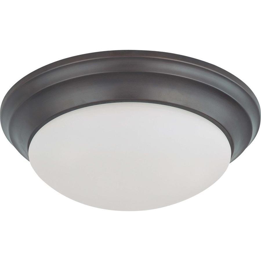 14-in W Mahogany Bronze Ceiling Flush Mount Light