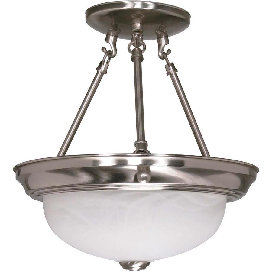 Divina 12-in W Brushed Nickel Alabaster Glass Semi-Flush Mount Light