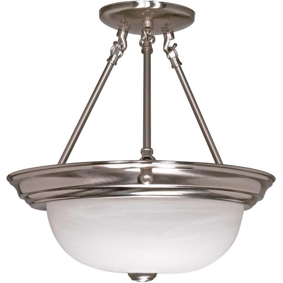 Divina 15.68-in W Brushed Nickel Alabaster Glass Semi-Flush Mount Light