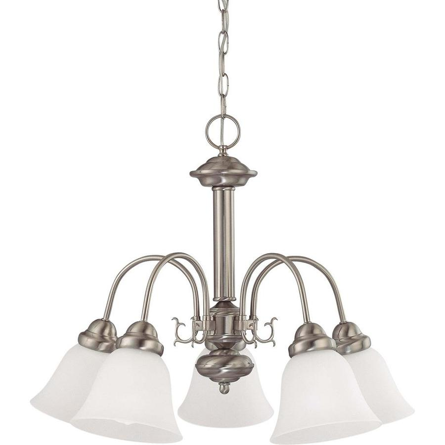 Edith 24-in 5-Light Brushed Nickel Tinted Glass Candle Chandelier
