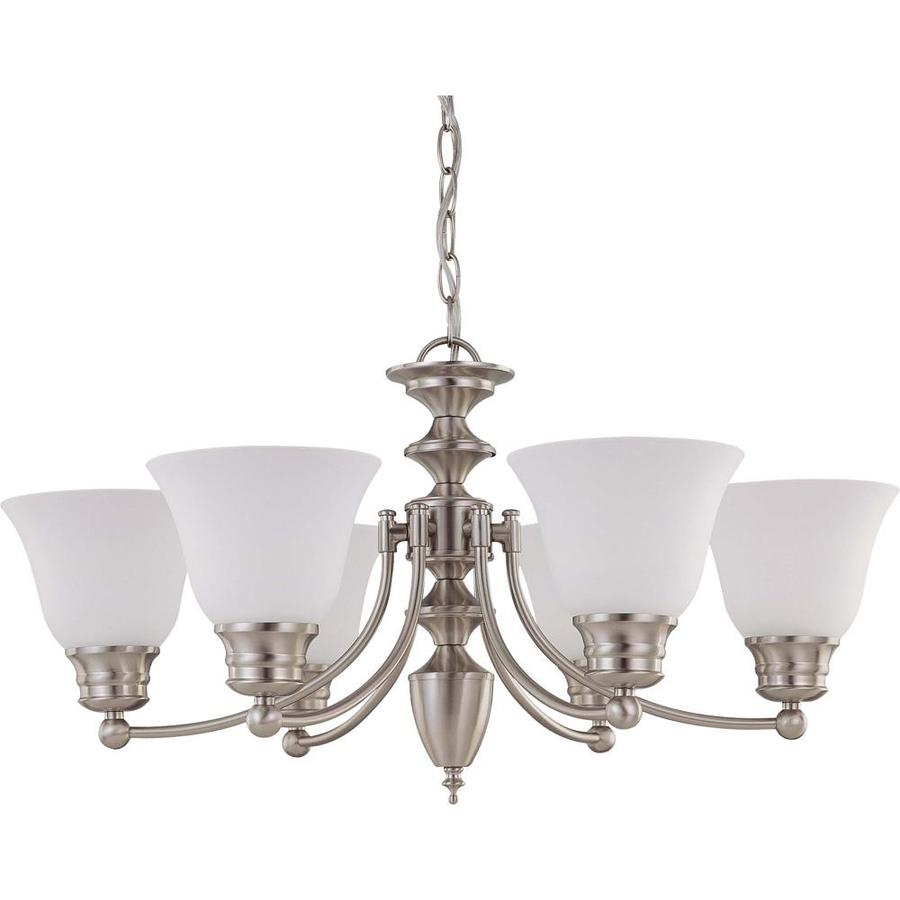 Empire 26-in 6-Light Brushed Nickel Tinted Glass Candle Chandelier
