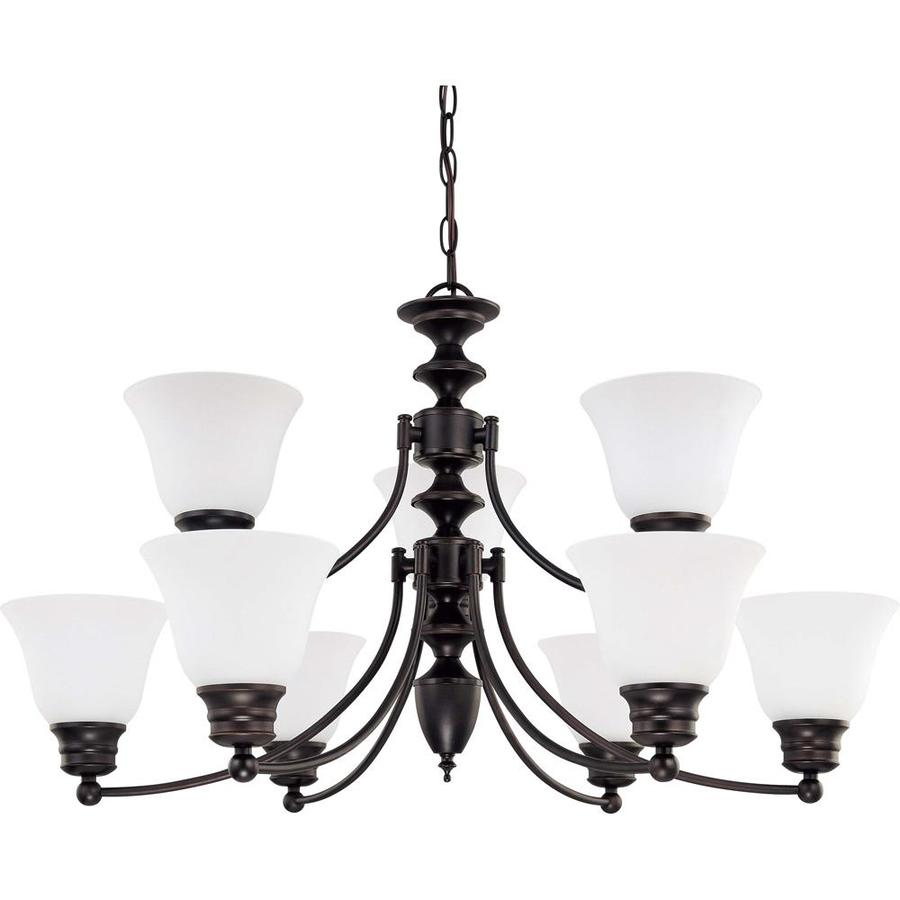 Empire 32-in 9-Light Mahogany Bronze Candle Chandelier