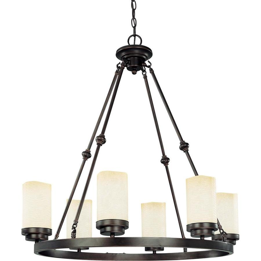 Lucern 22.75-in 6-Light Patina Bronze Tinted Glass Candle Chandelier