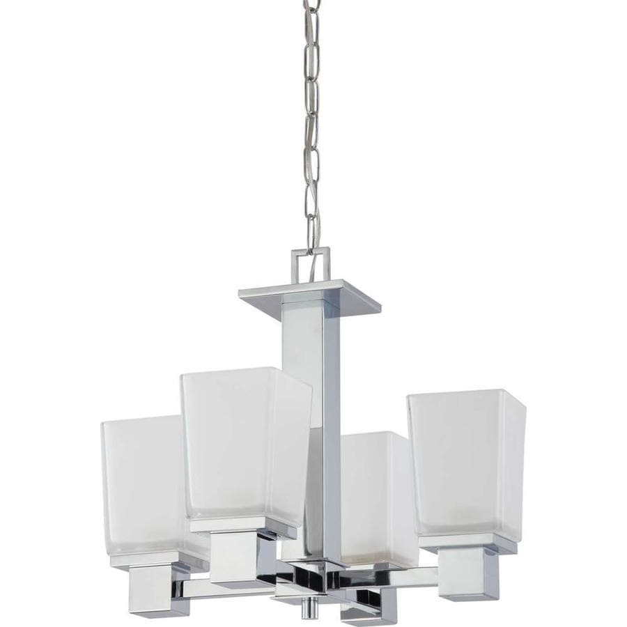 Berna 18-in 4-Light Polished Chrome Tinted Glass Candle Chandelier