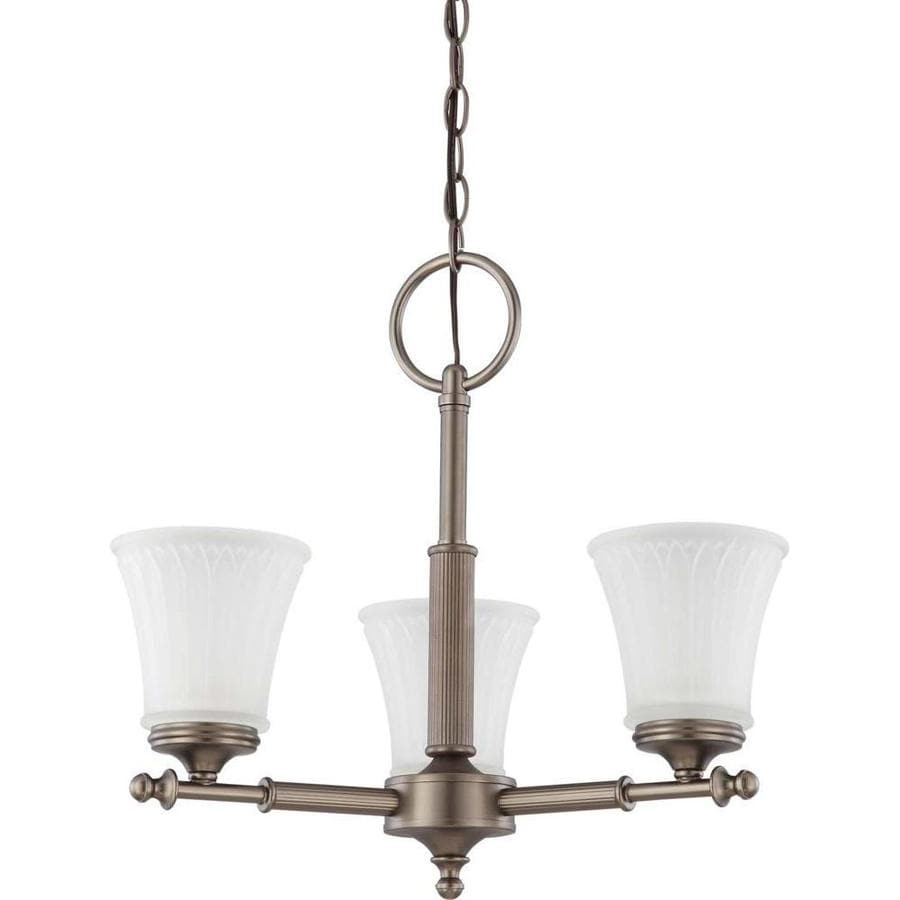 Teller 20-in 3-Light Aged Pewter Tinted Glass Candle Chandelier
