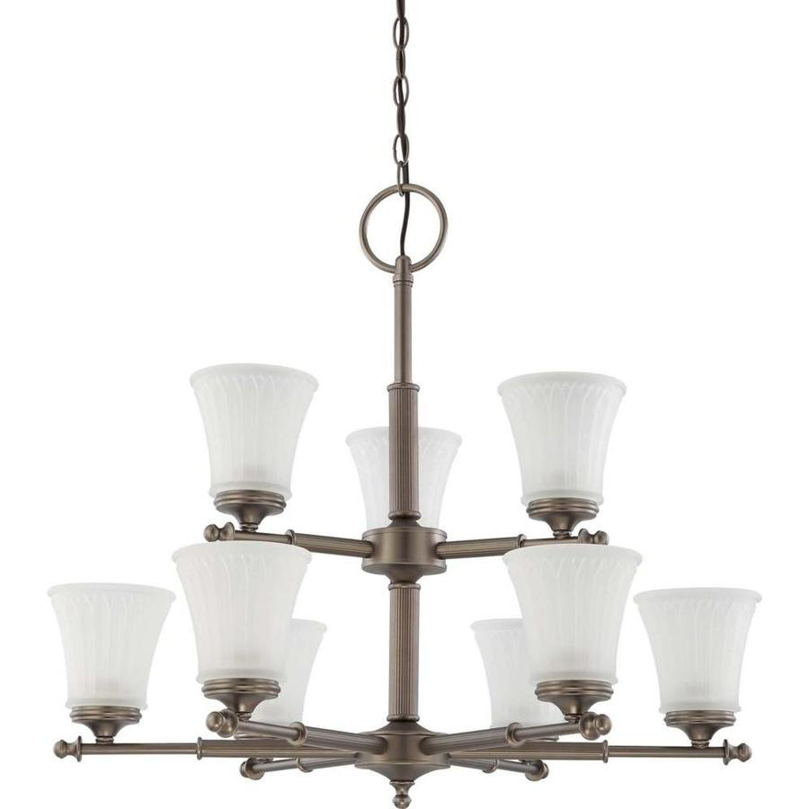 Teller 30-in 9-Light Aged Pewter Tinted Glass Tiered Chandelier