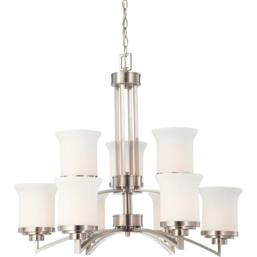 Harmony 30-in 9-Light Brushed Nickel Tinted Glass Candle Chandelier