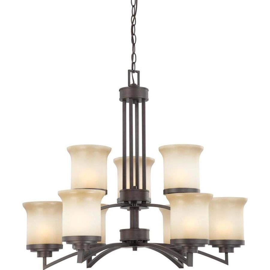 Harmony 30-in 9-Light Dark Chocolate Bronze Tinted Glass Candle Chandelier