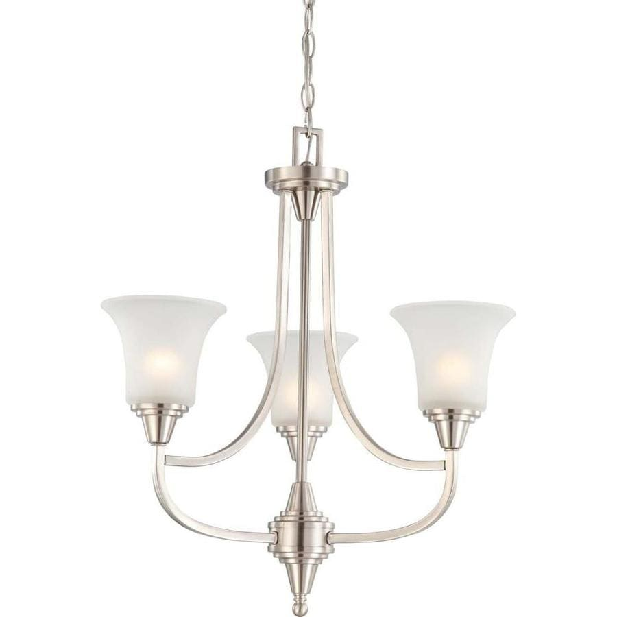 Surrey 21.75-in 3-Light Brushed Nickel Tinted Glass Candle Chandelier