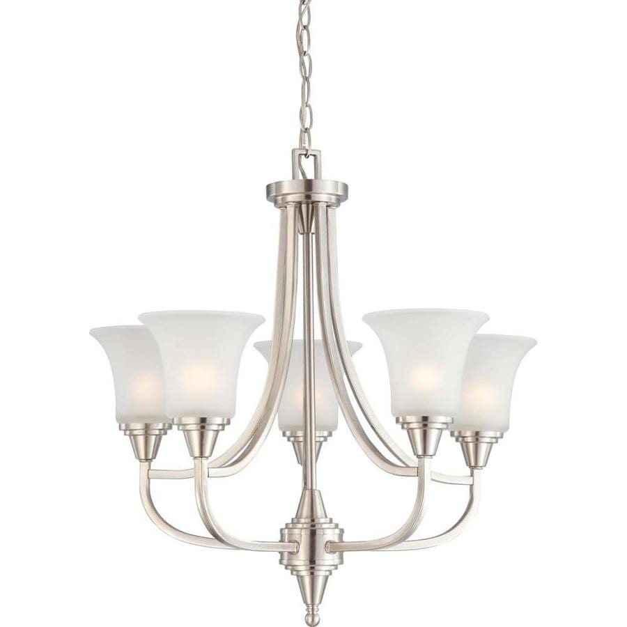 Surrey 24.25-in 5-Light Brushed Nickel Tinted Glass Candle Chandelier