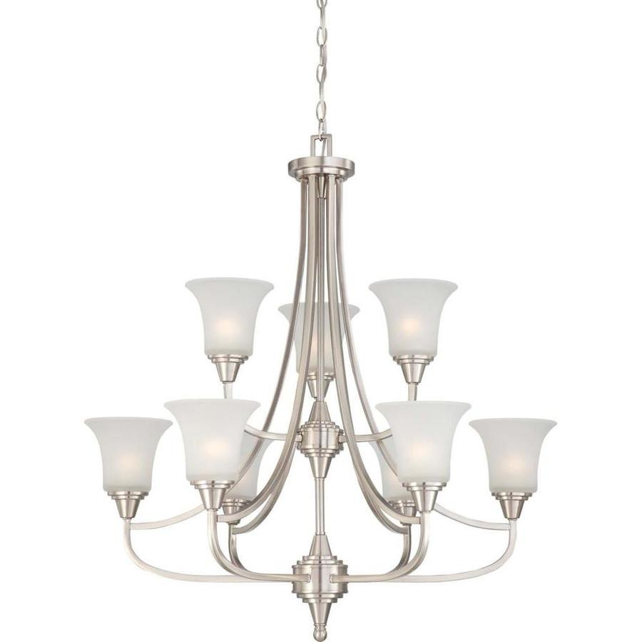Surrey 32-in 9-Light Brushed Nickel Tinted Glass Tiered Chandelier
