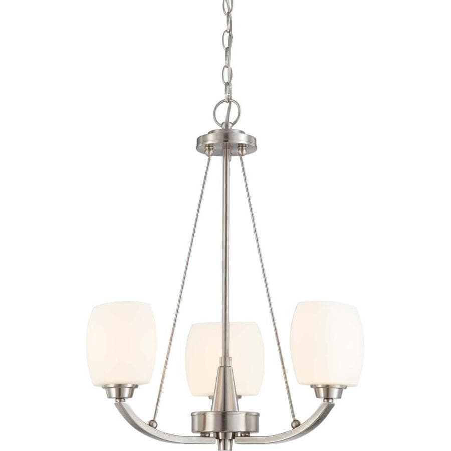 Helium 20-in 3-Light Brushed Nickel Tinted Glass Candle Chandelier