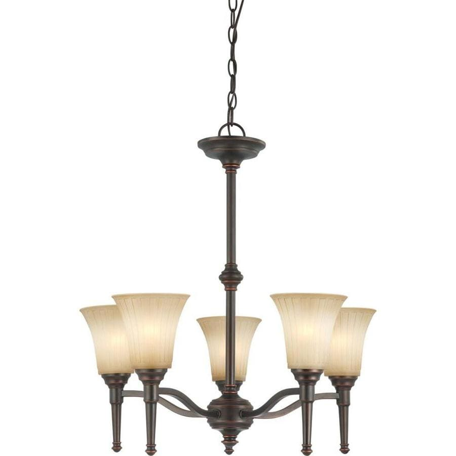 Franklin 25-in 5-Light Georgetown Bronze Tinted Glass Candle Chandelier