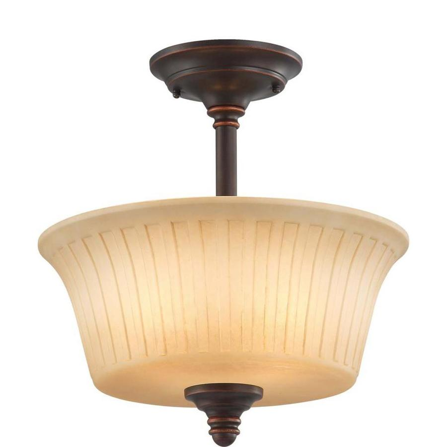 Divina 8.08-in W Georgetown Bronze Tea-Stained Glass Semi-Flush Mount Light