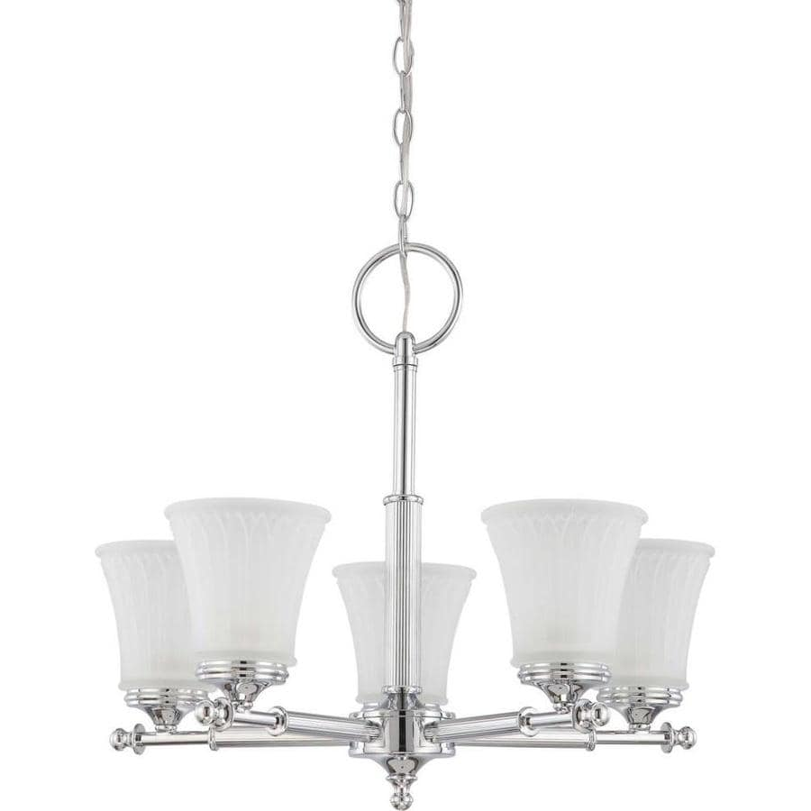Teller 22-in 5-Light Polished Chrome Tinted Glass Candle Chandelier