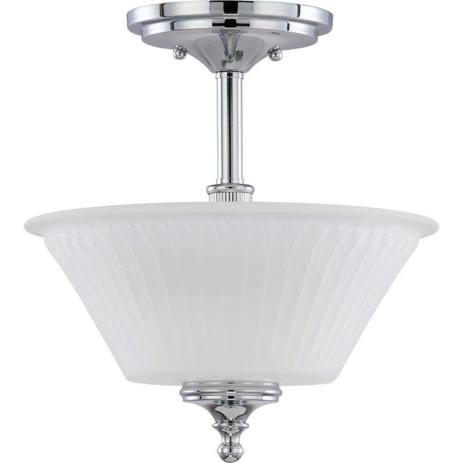 Divina 14.46-in W Polished Chrome Frosted Glass Semi-Flush Mount Light