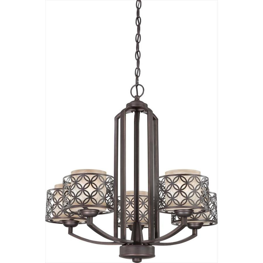 Margaux 27-in 5-Light Patina Bronze Tinted Glass Candle Chandelier