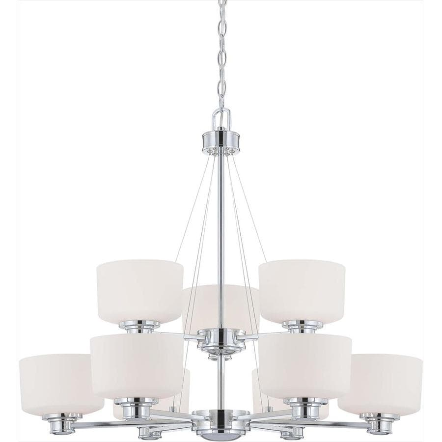 Soho 32-in 9-Light Polished Chrome Tinted Glass Tiered Chandelier