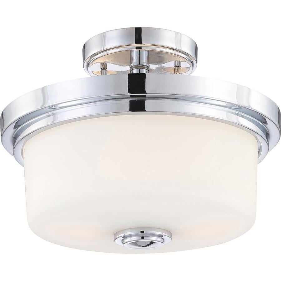 Divina 7.99-in W Polished Chrome Frosted Glass Semi-Flush Mount Light