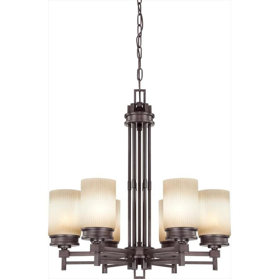 Wright 26-in 6-Light Prairie Bronze Tinted Glass Candle Chandelier