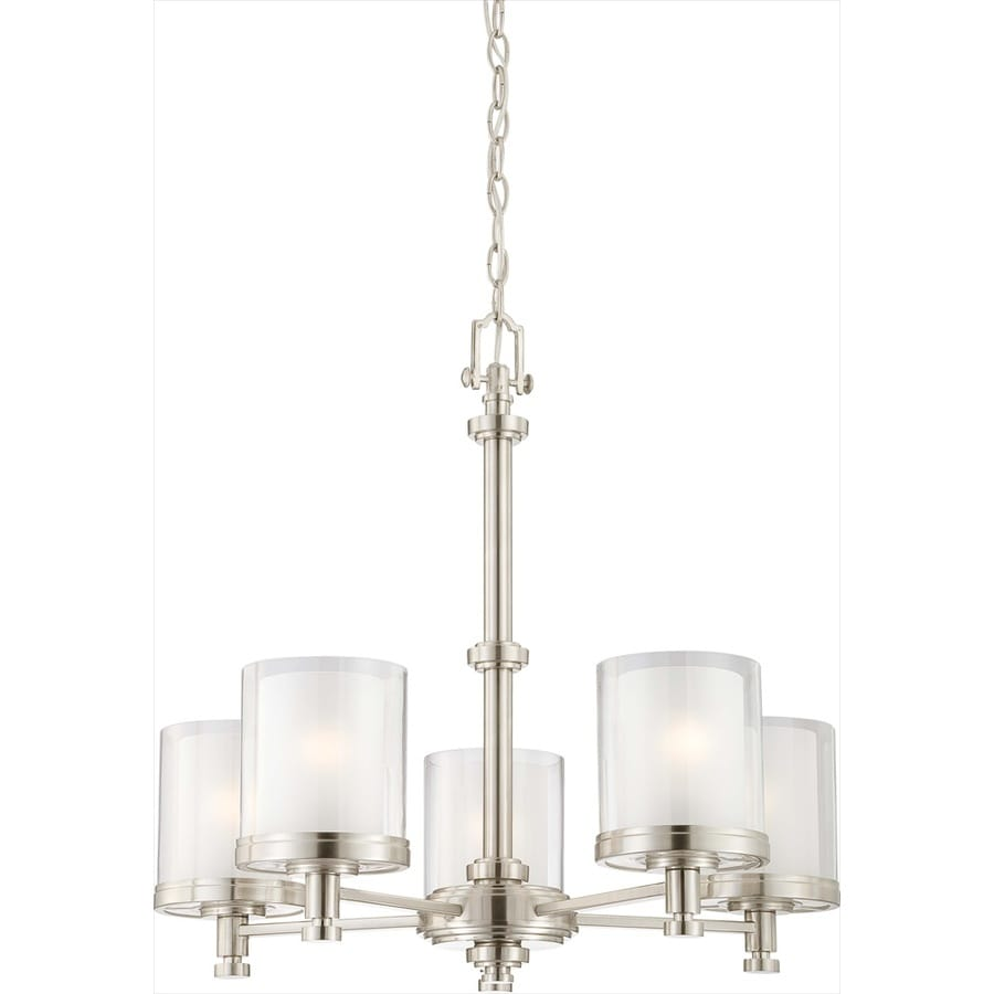 Decker 25-in 5-Light Brushed Nickel Clear Glass Candle Chandelier