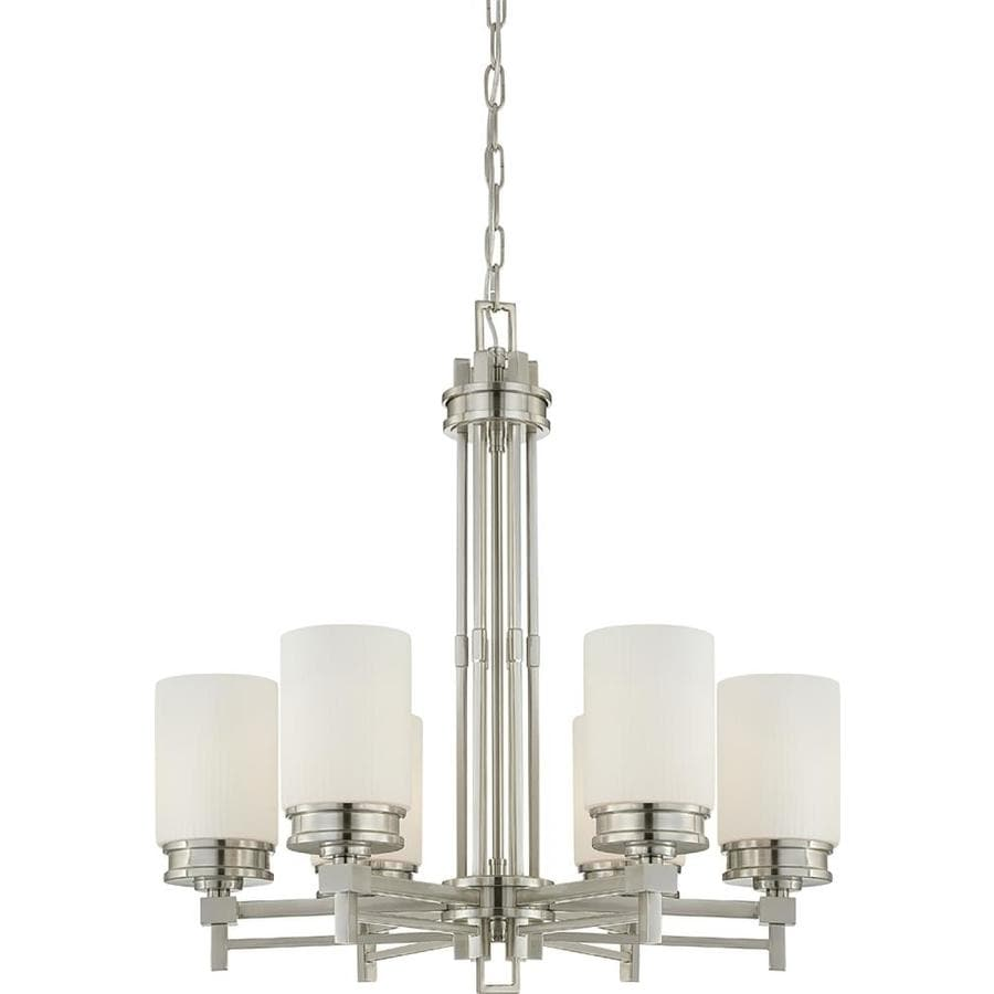 Wright 26-in 6-Light Brushed Nickel Tinted Glass Candle Chandelier