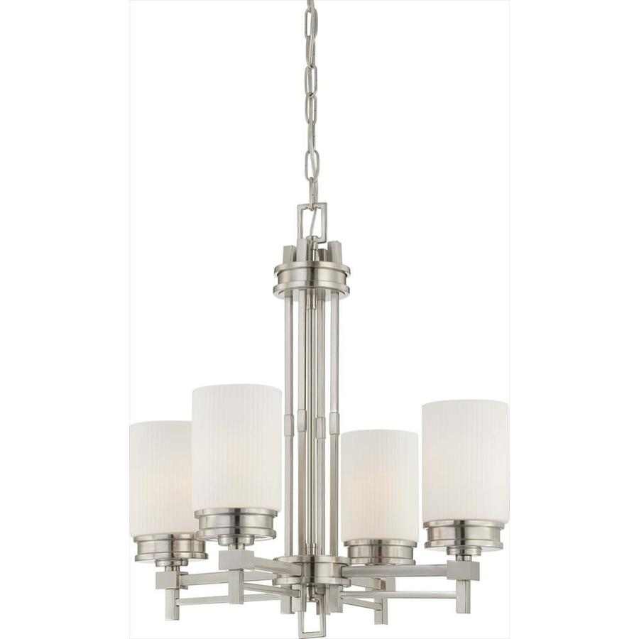 Wright 22-in 4-Light Brushed Nickel Tinted Glass Candle Chandelier