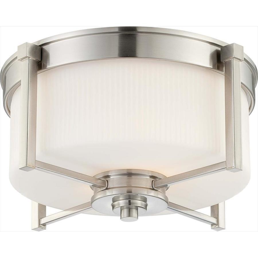 15.37-in W Brushed Nickel Ceiling Flush Mount Light