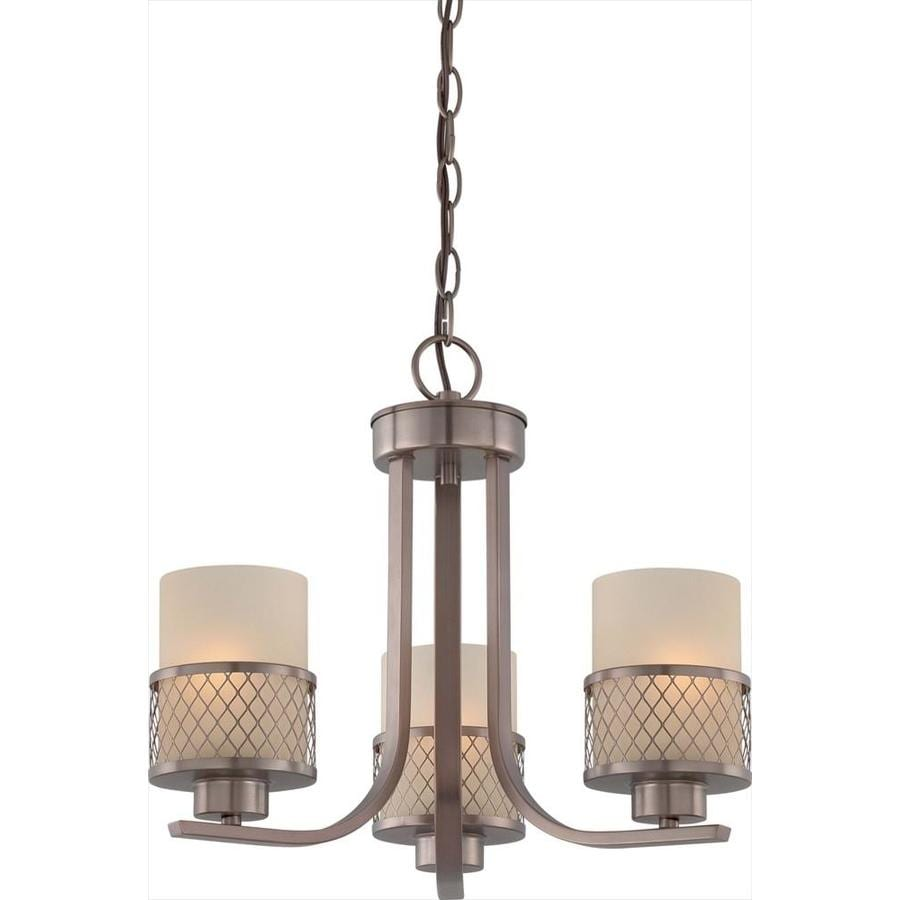 Fusion 17.87-in 3-Light Hazel Bronze Tinted Glass Candle Chandelier