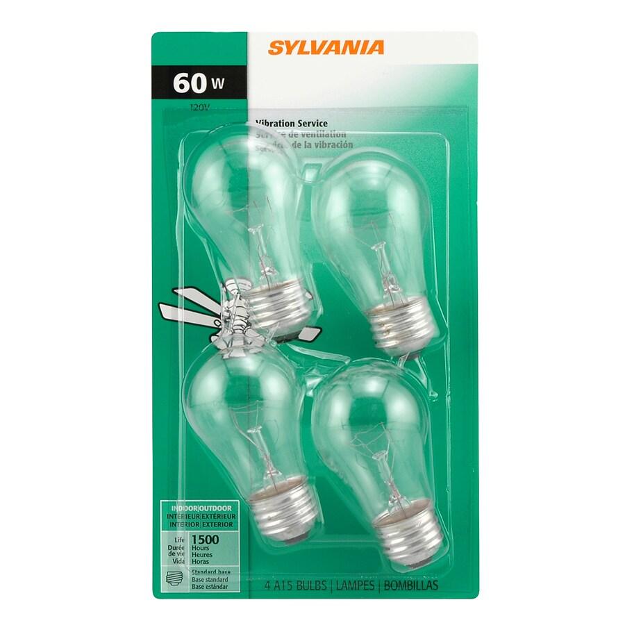 SYLVANIA 4-Pack 60-Watt A15 Medium Base (E-26) Soft White Dimmable Outdoor Incandescent Ceiling Fan Light Bulbs