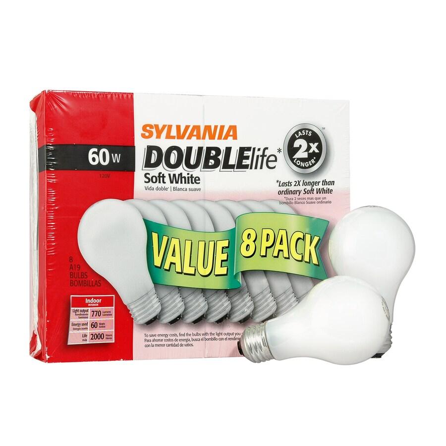 SYLVANIA 8-Pack 60-Watt A19 Medium Base (E-26) Soft White Dimmable Incandescent Light Bulbs