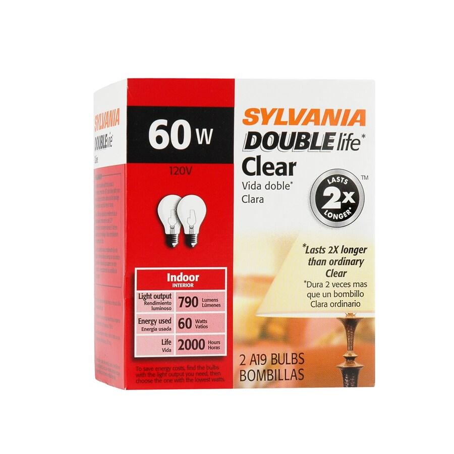 SYLVANIA 2-Pack 60-Watt A19 Medium Base (E-26) Soft White Dimmable Incandescent Light Bulbs