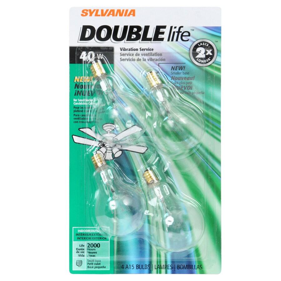 SYLVANIA 4-Pack 40-Watt A15 Candelabra Base (E-12) Soft White Dimmable Incandescent Ceiling Fan Light Bulbs