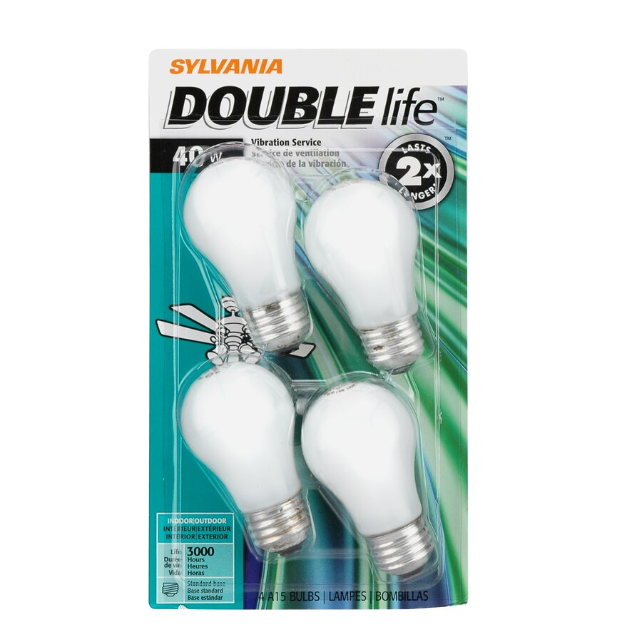 SYLVANIA 4-Pack 40-Watt A15 Medium Base (E-26) Soft White Dimmable Incandescent Ceiling Fan Light Bulbs