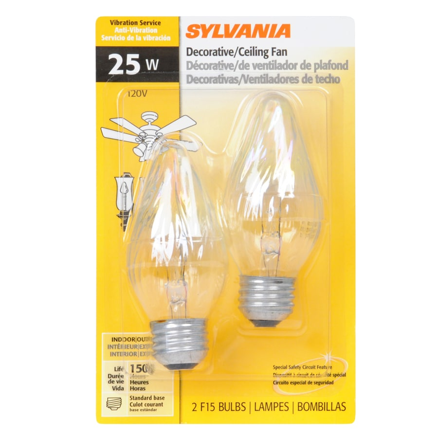 SYLVANIA 2-Pack 25-Watt Medium Base (E-26) Soft White Dimmable Decorative Incandescent Light Bulbs