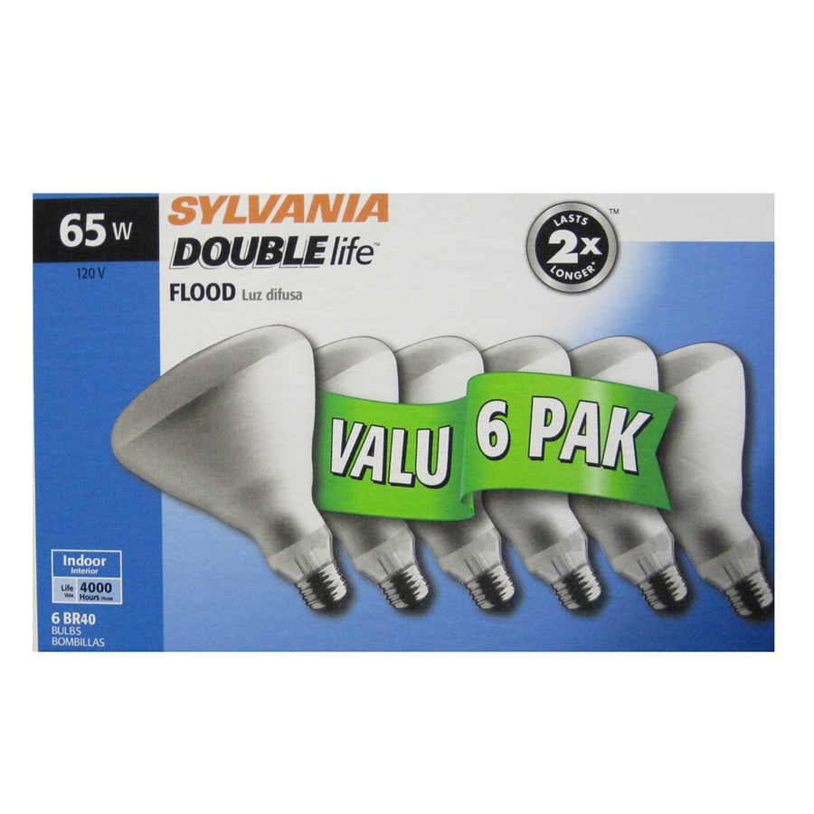 SYLVANIA 6-Pack 65-Watt BR40 Medium Base (E-26) Soft White Dimmable Incandescent Flood Light Bulbs