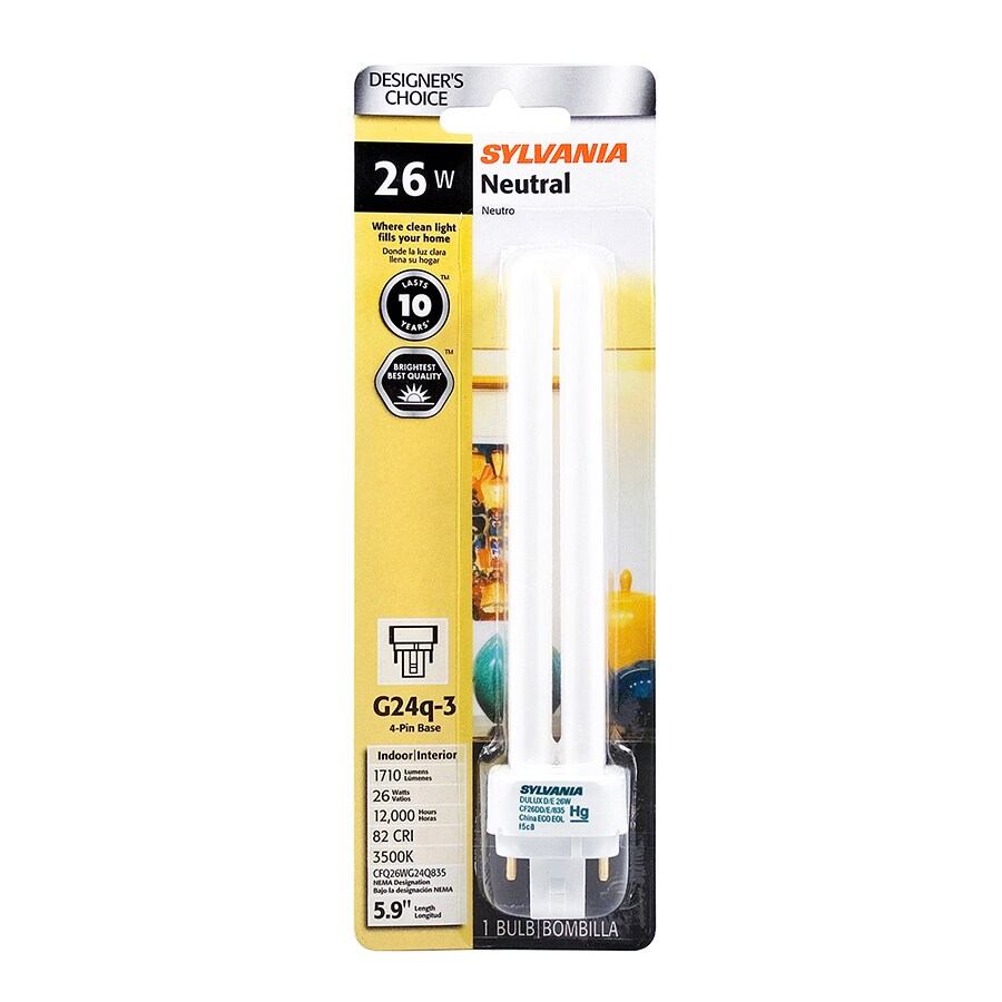 SYLVANIA 26-Watt (100W Equivalent) Double Tube Plug-in Base Bright White (3500K) CFL Bulb