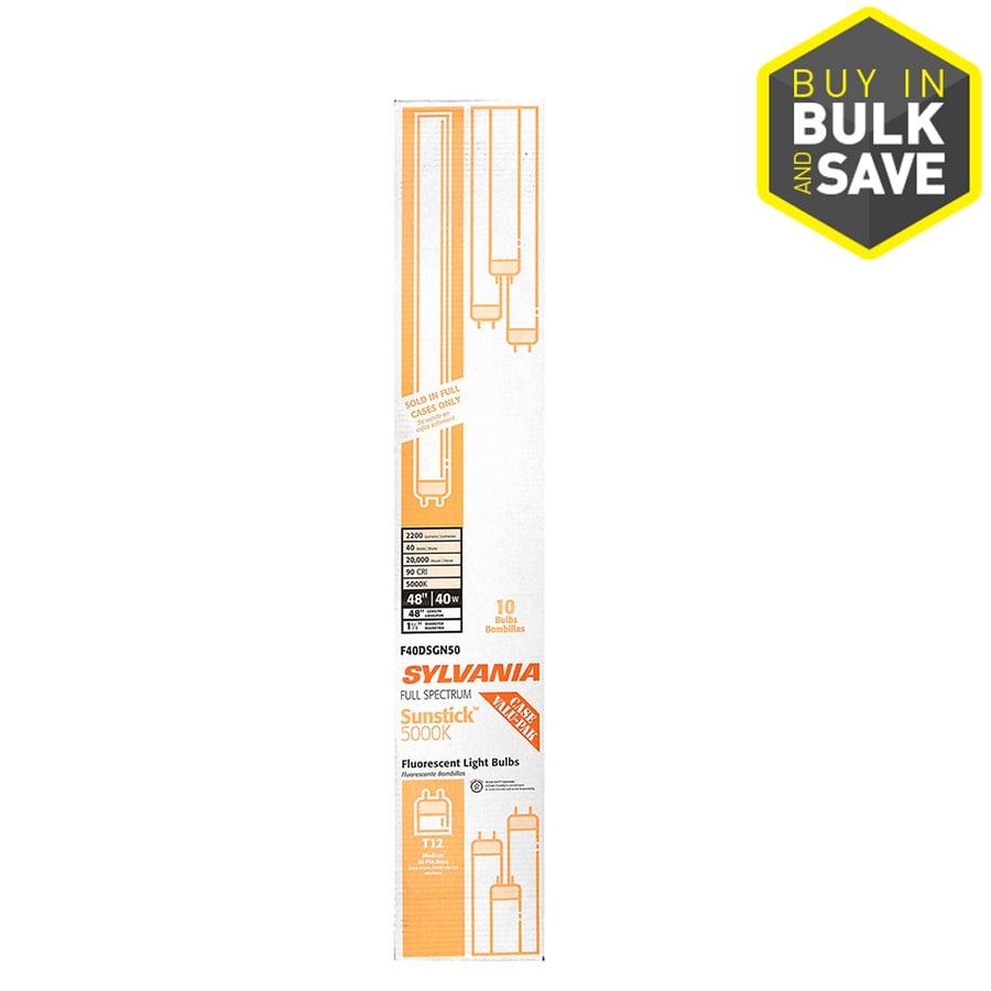 SYLVANIA 10-Pack 40-Watt 5000K Full Spectrum Linear Fluorescent Tube Light Bulbs (Common: 48-in; Actual: 47.78-in)