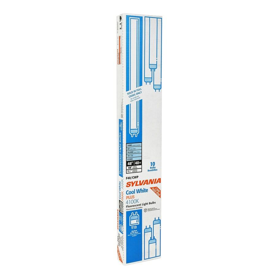 SYLVANIA 10-Pack 40-Watt 4,100K Cool White Fluorescent Tube Light Bulbs (Common: 48-in; Actual: 47.78-in)