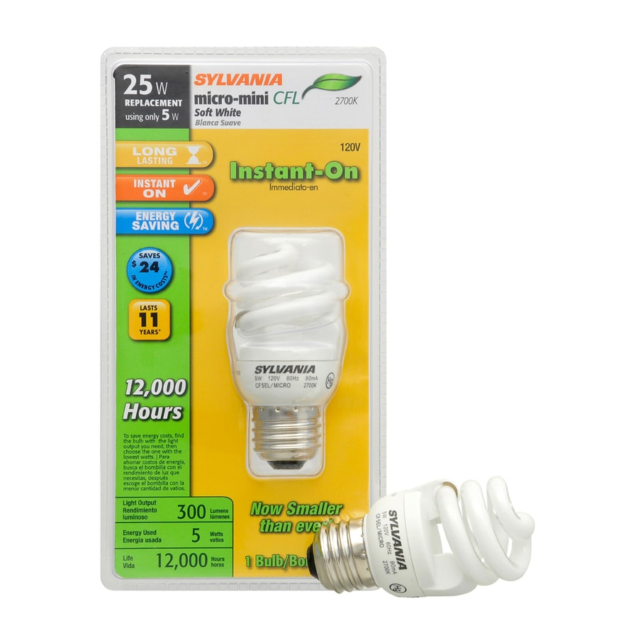 SYLVANIA 5-Watt (25W Equivalent) 2,700K Spiral Medium Base (E-26) Soft White CFL Bulb